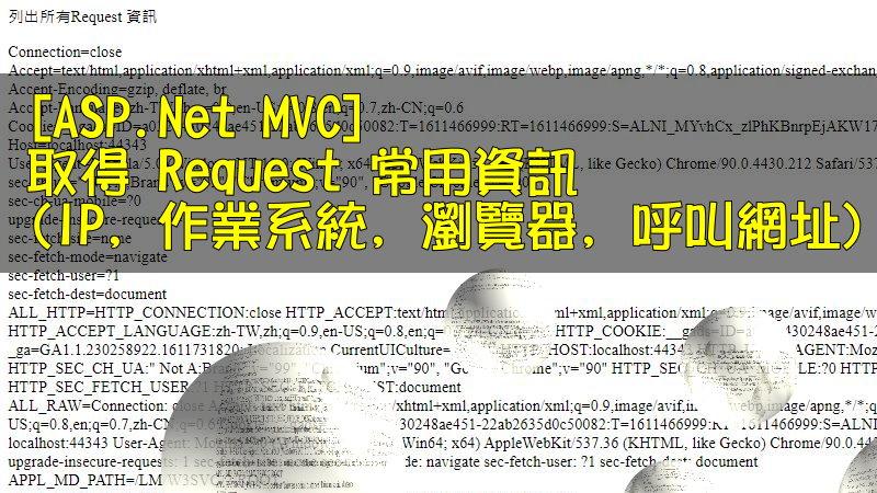 [ASP.Net MVC] 取得 Request 常用資訊 (IP, 作業系統, 瀏覽器, 呼叫網址)