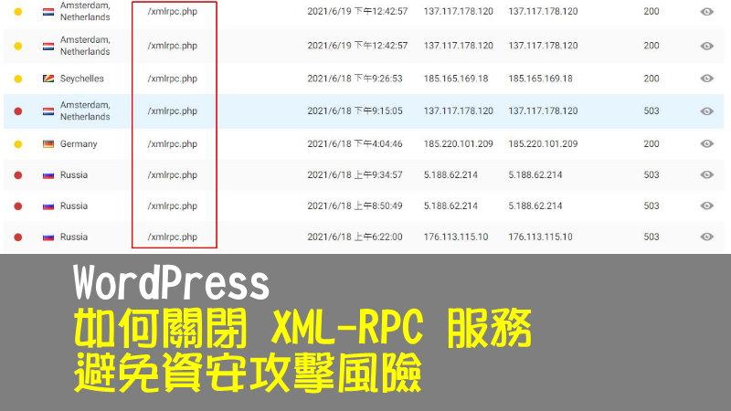WordPress 如何關閉 XML-RPC 服務,避免資安攻擊風險