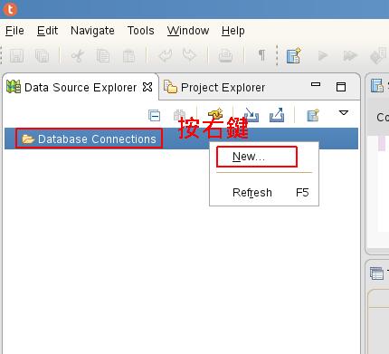 在左邊的「Database Connections」按右鍵選「New」